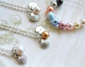 Bridesmaid Jewelry set of 9 Bridesmaid Gift set of 9 Beach jewelry set of 9 Personalized Bridesmaid necklace set of 9 Shell jewelry set of 9