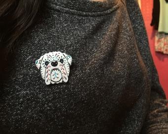 Day of the dead british bulldog brooch pin badge