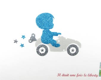Applied shape in your little boy & car in light gray stars fabric patch turquoise glitter fabric and iron fusible pattern