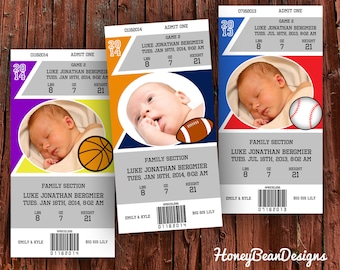 PRINTABLE New Baby Announcement Baseball Football Basketball Fan Ticket Stub