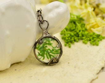 Tiny REAL MOSS seed pendant, plant necklace, dried flower, pressed plant, boho necklace, tin soldered jewelry, bridesmade, spring wedding