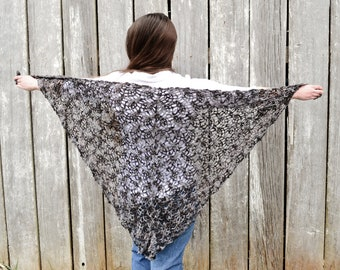 Crochet shawl, triangle scarf, grey and black, handmade wrap, shoulder wrap, light coverup, pineapple lace, long lacy shawl, triangle shawl