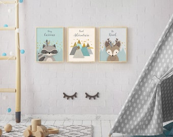 Woodlands Nursery, Set of 3, Print Set, Forest Animal Set, Nursery Art, Forest Friends, Nursery Forest Decor, Deer Racoon, Mountains, Quotes