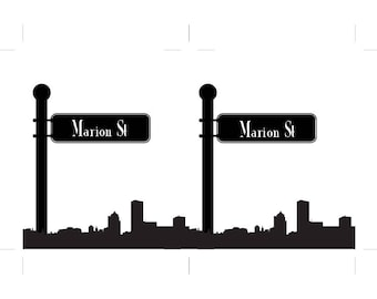 Rochester Table Number Skyline Street Sign Travel Wedding Your City Globe Trotter Custom Reception Sign