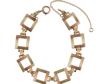 1940s Rose and Yellow 14KT. Gold Open Squares Bracelet