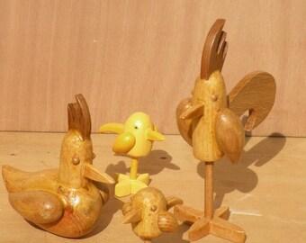 Rooster hen chicks wood sculptures