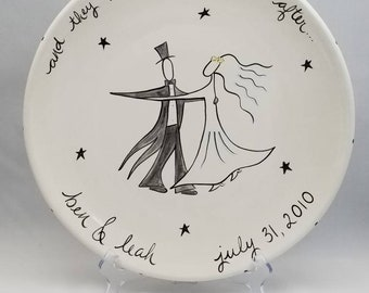wedding platter custom hand painted personalized ceramic with dancing couple