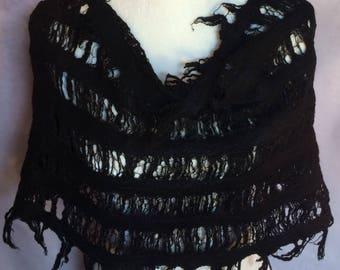Black Silk Fringe Infinity Scarf