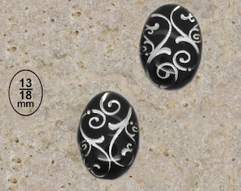 2 cabochon 13 X 18 mm resin silver scroll work print