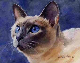 Lilac Traditional Applehead Siamese Cat Art Print of my watercolor painting Big Large Huge