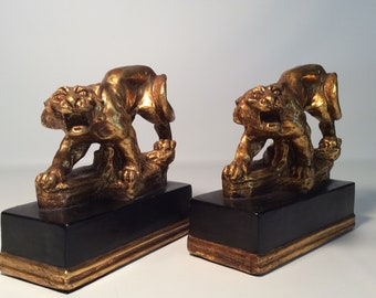 Vintage French Borghese Panther Bookends