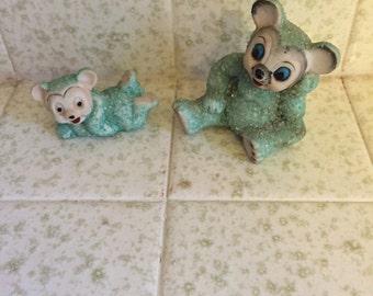 2 Vintage Japan Ceramic Snow Bears - Green - Snowbabies