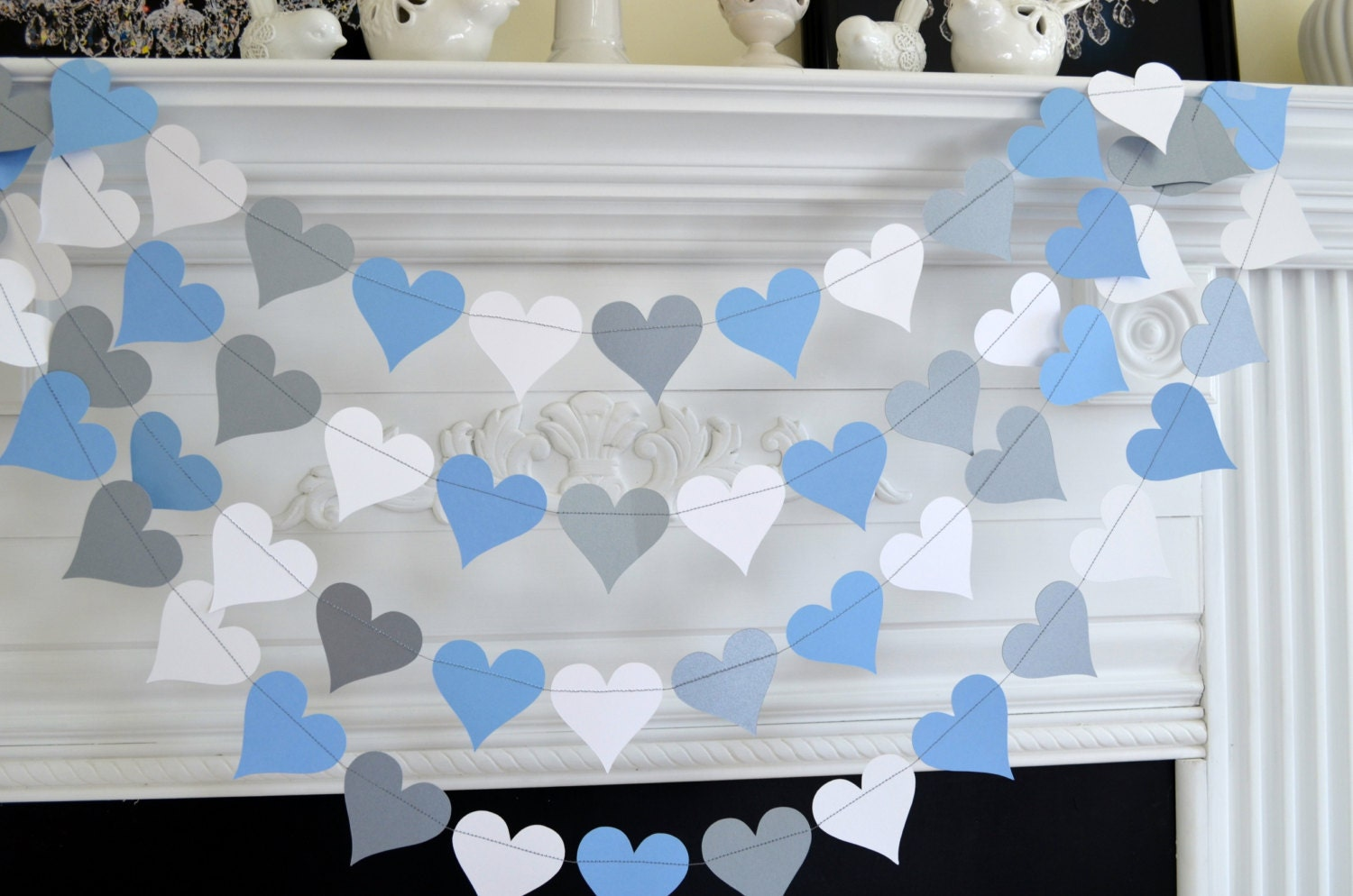 Silver blue white heart garland baby boy decorations bridal for Baby blue wedding decoration ideas