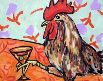 25% off chicken art - Chicken at the Martini Bar Art Print  JSCHMETZ modern abstract folk pop art gift - chicken gifts
