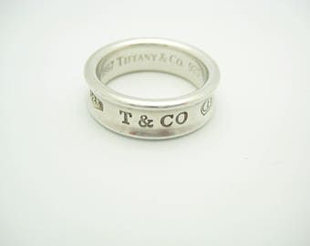 Tiffany 1837 wide belt ring in titanium and sterling silver - Size 5 1/2 Tiffany & Co. dIfnN0