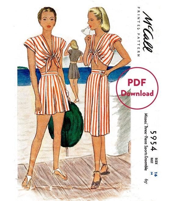 1940er Jahre 40er Jahre Vintage Nähen Muster Repro / / front