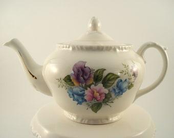 Vintage Teapot Crown Dorset Staffordshire England Floral Teapot China Teapot 4 Cup Teapot Vintage Tea Party Purple Floral