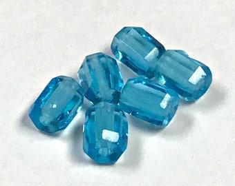 Vintage Czech GLASS BEADS Aquamarine blue Faceted Barrel 4.5x6mm pkg6 gl544