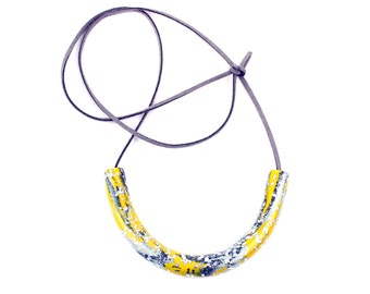 Yellow and Grey Necklace, Mustard Necklace, Bib Necklace, Statement Necklace, Geometric Curve Necklace, Grey Yellow Necklace, Silver Leaf