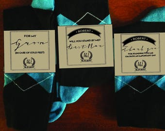 CUSTOM Groomsmen Sock labels - PRINTABLE Groomsmen gift labels - best man gift, groomsman gift - Groomsmen gift stickers - Thank you