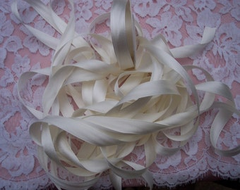 100 % Pure Silk/Satin Double Face  Ribbon Ivory Color 1/2  inch wide [13mm]10 yard Spool