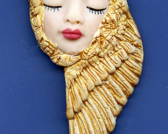OOAK Polymer Clay Face with Golden Wings  Art Nouveau    AGAN 1