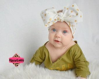Gold Polka Dottie Headwrap, Fabric Headwrap, Baby Headwrap, Toddler Headwrap, Gold Polka headwrap, Headwrap, black headwrap, Newborn Headwra