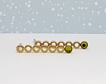 Gold Green Stud Earrings , Gold Long Stud Earrings, Green Peridot Earrings, Green Swarovski Studs, August Birthstone Earrings, Gift Ideas