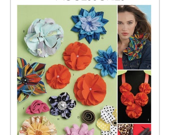 New MCCalls Pattern M6047 Fabric Flowers and Rosettes
