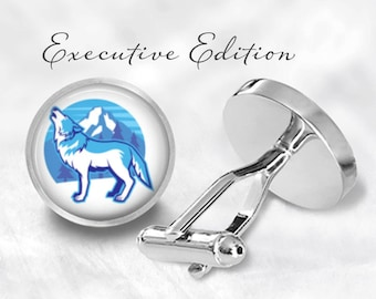 Cufflinks - Wolf Cufflinks - Arctic Wolf Cufflinks - Howling Wolf Cuff Links (Pair) Lifetime Guarantee (S0678)