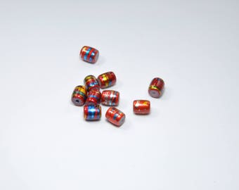 PE331 - Set of 10 red, yellow and blue glass beads