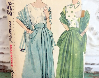 1940s Simplicity Skirt With Stole Sewing Pattern Waist 26