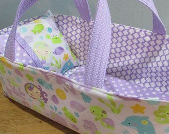 Doll Carrier, Under The Sea with Lavender Lining, 14 Inches Long, Doll Basket