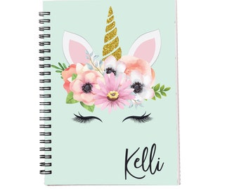 Unicorn Face Personalized Spiral Notebook, Journals for Women & Girls, Custom Notebooks, Lined Spiral Notebooks