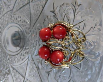 Elongated Red Moonglow & Rhinestone Earrings