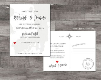 Newport Rhode Island Map Save the Date - New England Wedding - Destination Wedding