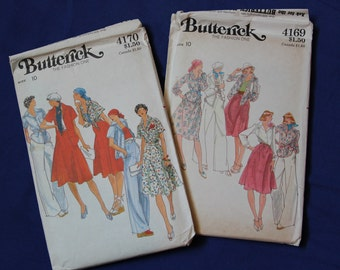 Misses' Shirts, Skirt, Pants Vintage Sewing Patterns BUTTERICK 4169 and BUTTERICK 4170, UNCUT