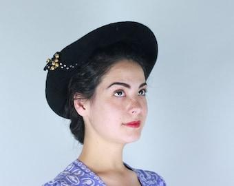 Vintage 1940s 1950s Hat | 40s 50s Black Wide Brim Plush Fur Felt Halo Hat with Rhinestone Embellishment by Hale Bros