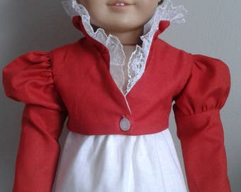 Regency Brick Red Cotton Summer Feather Tail Spencer for AG Caroline or 18 Inch Doll