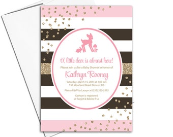 deer baby shower invitations for girls | pink and brown baby shower invites girl | stripes gold glitter | printable or printed - WLP00757