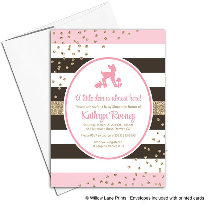 Deer Baby Shower Invitations For Girls Pink And Brown Baby