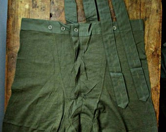 NOS Vintage Mens Wool Long Johns Underwear Base Layer Adjustable Suspenders Top Quality Scandinavian Vintage Thermal Pajamas Bottoms Pants