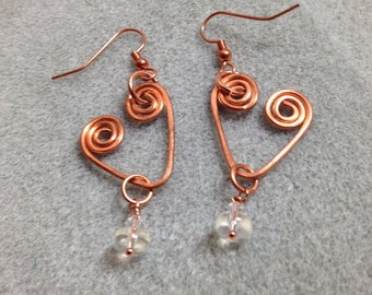 Hand formed, hammered copper wire heart earrings