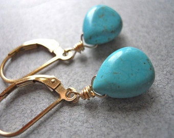 Turquoise earrings, SPECIAL OFFER PRICE, Leverback or French Ball Ear wires, Leverback earrings, dangle earrings, drop earrings, South Shore