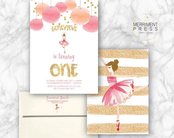 Pink and Gold Ballet Invitation / Ballerina Invitation / Brunette / Ballet Birthday Party / Ballerina Party / Watercolor / VIENNA COLLECTION