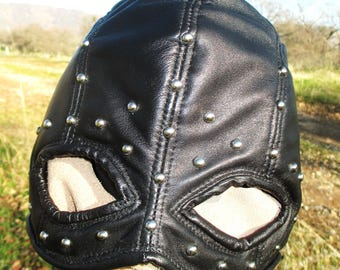 Black Leather Executioner Half Hood Mask with Oval Eyes/ Nickel Studs/ Extra Large Size
