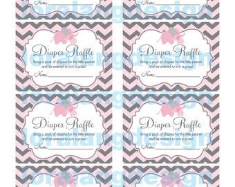 Digital Printable Little Peanut Baby Shower Diaper Raffle Cards