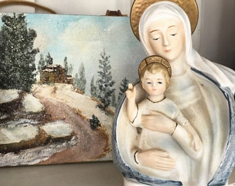 Our Lady of the Snows / Virgin Mary / Vintage Madonna Planter / Vintage Planter / Virgin Mary Statue / Catholic Gift / Madonna Statue / RCIA