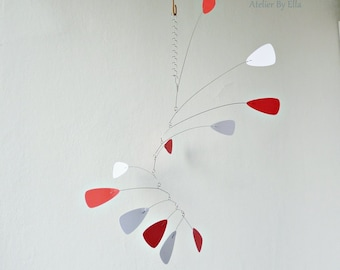 White and red Hanging mobile,Room decor,Art for home