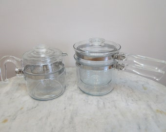 DUO Vtg PYREX FLAMEWARE Coffee Pot 6 Cup & Bain-Marie Double Boiler ~Blue Tint Glass~ 7756 and 6283